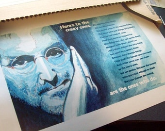 """11 x 17 PRINT of a Steve Jobs watercolor along with """"Here's to the crazy ones"""" quote"""