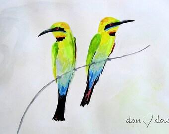 Bee-eater Art print of Original Watercolor Painting - 8x10 Bird Art