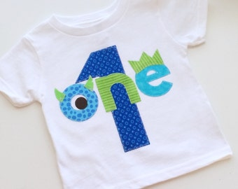 Monster Birthday Shirt First Birthday Boys Shirt or Onesie gift photo prop funny