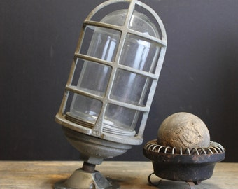 Vintage Caged Industrial Light Fixture // Exterior Fixture // RAB Electric NYC // Steampunk Urban Fixture
