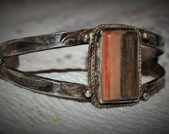 OLD NAVAJO CUFF Petrified Wood Sterling c1950
