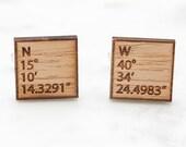 Latitude Longitude GPS Coordinates Wood Cufflinks, Laser Engraved Favorite Location Fith Anniversary Sentimental Keepsake