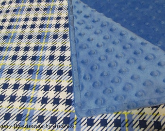 Plaid Flannel and Minky Baby Blanket, Baby Blanket with Minky and Flannel