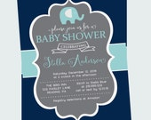 Joyful Mint Elephant Baby Shower Invitation Boys Chalkboard Printable or Printed Classic Sprinkle Party Invites Grey and Navy Blue Stripe