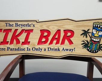 Large Tiki Bar Sign with Custom name and phrase - Tikki Totem