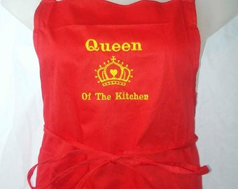 Queen of the Kitchen - Embroidered Apron - 100% COTTON