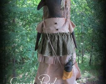 Primitive Halloween Olde Crow Witch Doll / Folk Art Witch Crow Doll Handmade