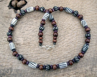 Mens necklace, bone beads, carved and dyed bone and wood beads, tribal surfer style, handmade from natural materials, one of a kind