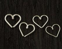 Sterling silver Love Heart Cartilage / Rook / daith / Tragus / Snug / Helix / Forward Helix earring