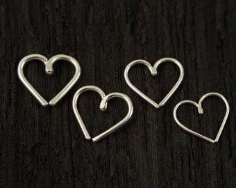 Sterling silver Love Heart Cartilage / Rook / daith / Tragus / Snug / Helix / Forward Helix earring