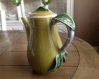 Vintage Green Coffee Pot with Vine Handle Made in Portugal