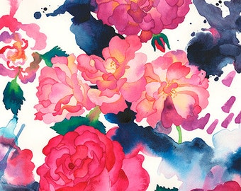 Abstract Floral Roses Watercolor Painting, Pink and Red Colorful Rose Print, Carissa Joie Luminess Art