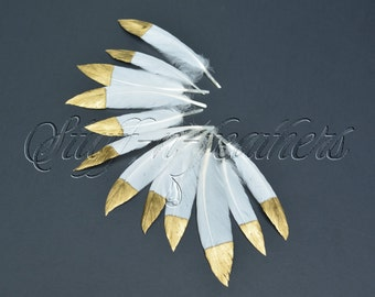 GOLD dipped natural white feathers, small metallic gold hand painted duck feathers loose white gold tip / 2-3.5 (5-9 cm), 12 pcs / F155G