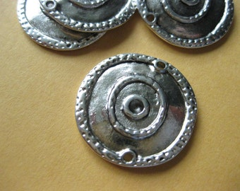 20pcs Antique Silver Connector Link Bead, Flat Round, 22mm diameter, DIY Jewelry Making Supplies Findings