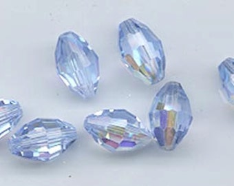 12 rare vintage Swarovski crystals - Art. 5200 - 10.5 x 7 mm - light sapphire AB
