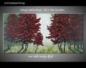 RESERVED FOR WILDKITTEN01 Red Tree Painting Large Misty Forest Contemporary Original Abstract Modern Landscape Canvas 16X20 JMichael