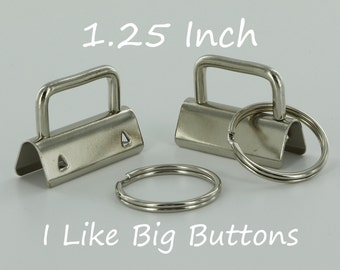 10 Sets - Silver - 1.25 INCH (32 mm) Key Fob Hardware with Split Rings Wristlet/Key Chains