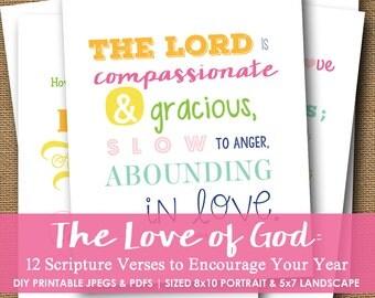 Printable Scripture Wall Art | Monthly Scripture Encouragement | God's Love Bible Verses | Scripture Typography | DIY PRINTABLE Download