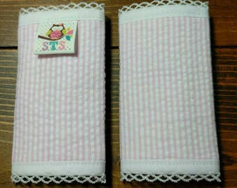 Reversible NEWBORN Car Seat Strap Covers Light Pink Seersucker with Pink Dimple Dot Minky Cuddle Baby Girl Infant Newborn ITEM #369