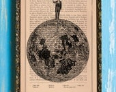 The Man On The Moon Original Collage Print on an Unframed Upcycled Bookpage