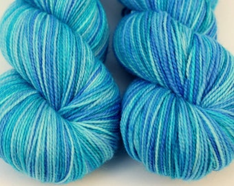"Kettle Dyed Sock Yarn, Superwash Merino, Nylon and Stellina Fingering Weight, in ""Pool"""