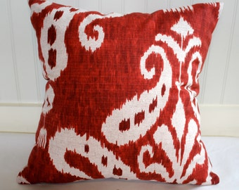 Red and Ivory Ikat Pillow Covers / 18 x 18 / in Designer Fabric