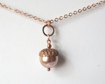 Copper and Rose Gold Acorn Necklace with Swarovski 12mm Rose Gold Pearl