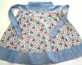 Vintage Apron, Womens Half or Waist Apron, Red Roses, Blue Daisies Floral Cotton Print, Blue Trim,  Vintage Linens by TheSweetBasilShoppe