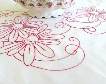 Hand Embroidered Tablecloth, Redwork Embroidery, Breakfast Cloth, 31 x 29, White Cotton Tablecloth Vintage Table Linens, TheSweetBasilShoppe