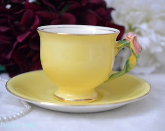 ON SALE Royal Winton Grimades Yellow Teacup And Saucer Set With Rose Bud Flower handle, English Bone China Tea Cup Set, ca. 1940
