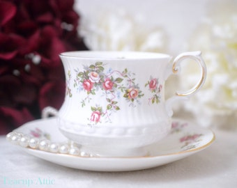 Queen's Rosina Rosamund Teacup and Saucer, English Bone China Tea Cup And Saucer, Replacement China, Garden Tea Party, ca. 1960