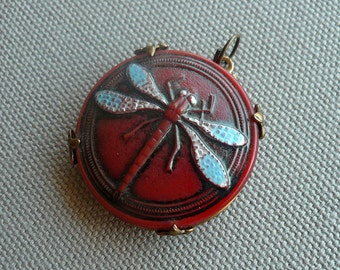 Art Nouveau Dragonfly  - Dragonfly Pendant - Red Glass & Brass Pendant - Insect Jewelry