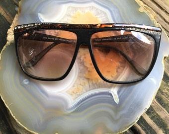 Vintage Sunglasses Christian De Rox Handmade brown black crystals