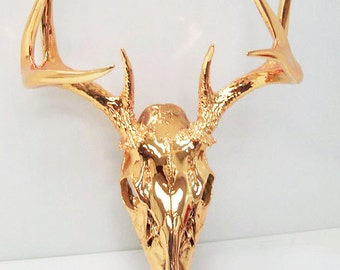Gold Chrome Deer Skull Taxidermy  Antler - Very Unique Art Sculpture