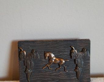 Vintage Belt Buckle Brass Horse Buckle Western Mare Colt