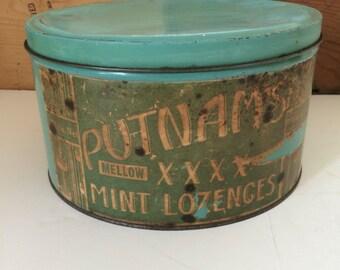 Putnam's Mellow XXXX Mint Lozenges Tin With Paper Label 10 Pound Size Circa 1920s - 1930s