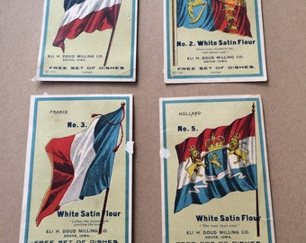1880s Advertising Cards White Satin Flour Numbered Cards Country Flags Partial Set to Collect For Free China Boone Iowa Eli Doud Milling Co