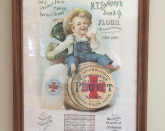 Vintage Advertising Poster 1983 Reproduction of 1901 Advertising Calendar  N.T. Swezey's Son and Co Flour Northwestern Consolidated Milling