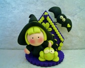Miniature - Witch - Frog - Bat - Polymer Clay - Halloween - Figurine