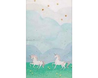 Magic - Unicorn Parade Double Border in Mint Metallic - Sarah Jane for Michael Miller - MD7189-MINT-D - 1/2 Yard