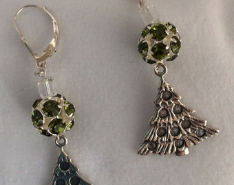 Olive Swarovski rhinestone ball, cube crustal with silver Christmas tree earrings - Sale
