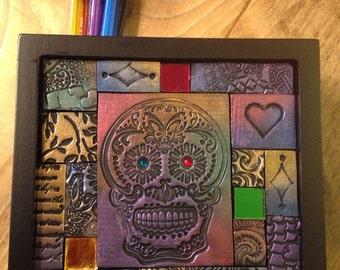 Sugar Skull...Polymer Clay Mosaic Desktop Organizer