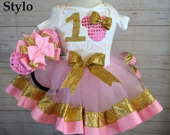 minnie mouse birthday outfit,FREE SHIPPING,birthday girl outfit, minnie mouse birthday tutu,hot pink tutu,girl birthday outfit