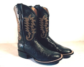 Vintage Cowboy Boots 40's GODING Black All Leather Pee