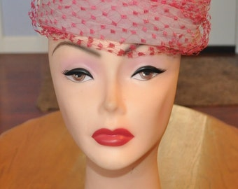 Vintage Lord & Taylor pink beehive style netted hat