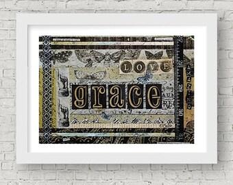 Grace Mixed Media Art Print Positive Art Wall Art Butterfly Collage Art Inspirational Love Beige Black Gold Home Decor