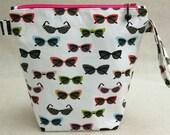 KNITTING PROJECT BAG - Sock Skinny, Zippered Wide Mouth Wedge Bag, Sunglasses, Zippered Project Bag, Handmade, Knitting Bag