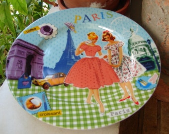 small dessert, sweet plate, shabby retro Paris style,small porcelain ceramic serving plate
