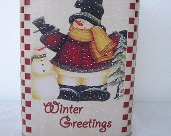 Vintage style, CHRISTMAS tin box, Winter greetings, snowman snowy scene-square tin,lid