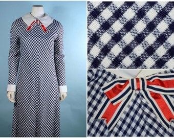Vintage 60s Mod Navy White Bow Tie Maxi Party Dress/Plaid Check Pilgrim Hostess Party Prom Dress/White Collar + Cuffs School Girl Maxi SZ S
